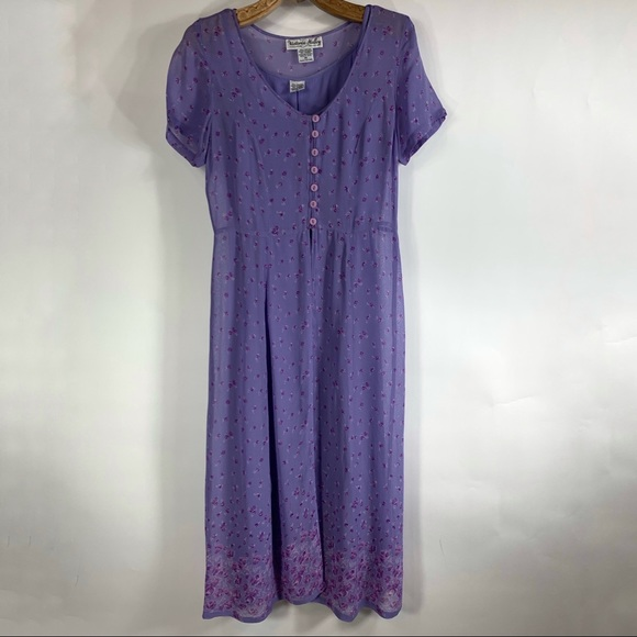 Vintage Dresses & Skirts - Purple Shift Dress Layered Floral 90s Sz 14